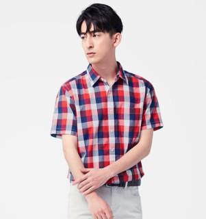 lativ 诚衣  46756 男士格子短袖衬衫