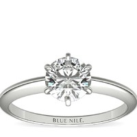 Blue Nile 0.65克拉圆形切割钻石+ 经典6爪铂金戒托
