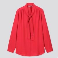1日0点:UNIQLO 优衣库 426206 女装蝴蝶结领花式衬衫
