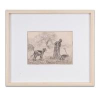 《 牧牛少女》让-弗朗索瓦·米勒|粉笔速写|30.5 x 22.8 cm
