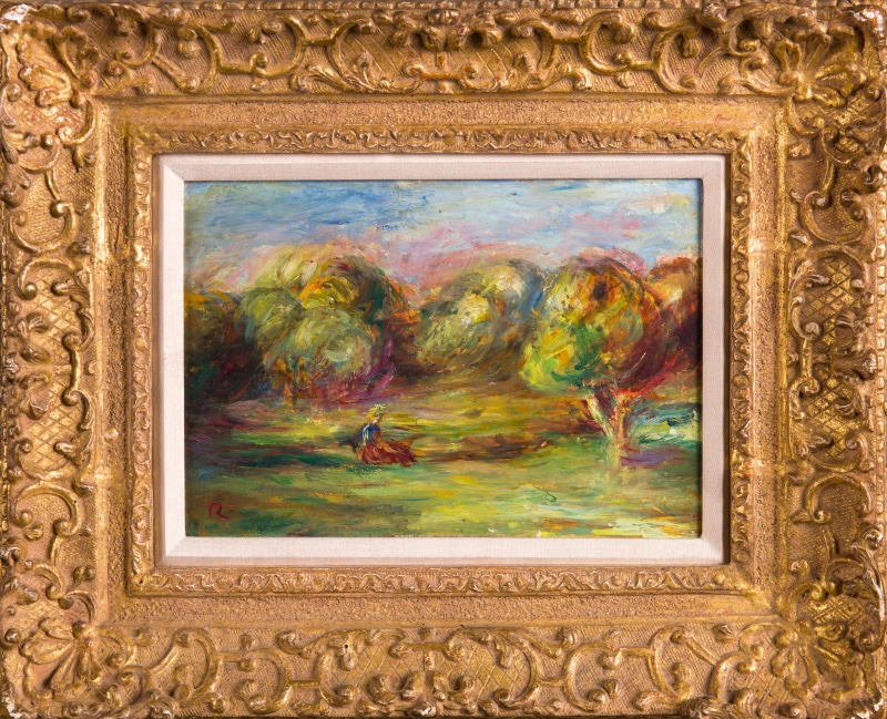 《有少女的风景》皮埃尔·奥古斯特·雷诺阿|纸本油画|21.6 x 15.2 cm