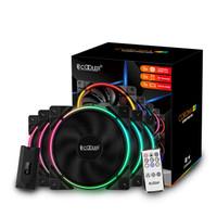 PCCOOLER 超频三 皓月 FRGB 机箱风扇(5X套装、兼容3厂主板RGB灯效、遥控)