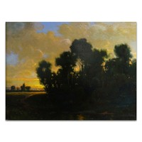 《巴比松落日》西奥多·卢梭|布面油画|54.6 x 41.9 cm