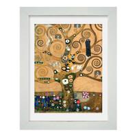 大师复刻:克里姆特《生命之树》艺术版画 客厅装饰画 卧室玄关装饰 白色框 尺寸55*75cm