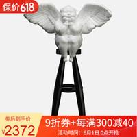 小编精选:稀奇(XQ)限量版雕塑瞿广慈作品zui天使The Angelest-Qian (Male) 白男黑凳