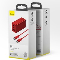22点开始:Baseus 倍思 GaN氮化镓充电器 65W(2C1A)+ 100W Type-C数据线 红色特别版套装