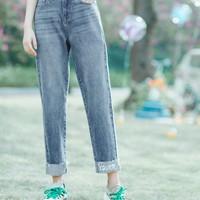 茵曼 1802409 中高腰直筒牛仔裤