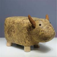 SCNDEWMY   创意实木小牛换鞋凳  金小牛