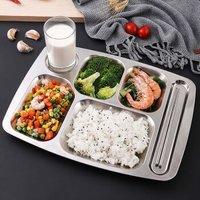 京东PLUS会员:佳佰 304不锈钢餐盘饭盒 六格
