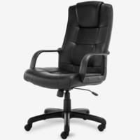 京东PLUS会员:博泰(BJTJ) 电脑椅子 办公椅 家用转椅 职员椅黑色皮椅BT-9753H