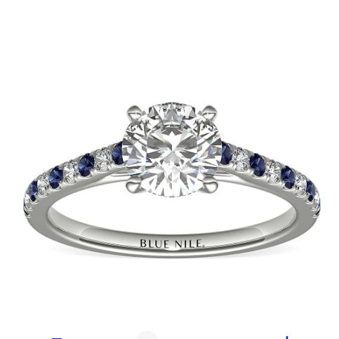 Blue Nile 0.70克拉圆形切割钻石(切工VG,成色E,净度VS2)+ 密钉蓝宝石与钻石戒托