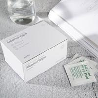 Benks 邦克仕75%酒精消毒棉片 一次性便携式抑菌消毒擦手机清洁棉片 75度酒精湿巾 独立包装100片 *3件