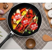 美的不粘锅麦饭石色炒锅煎锅炊具+竹铲 紫罗兰色 *3件