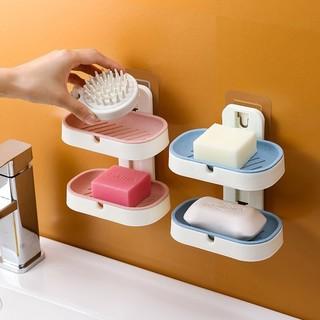 小钰头 免打孔双层肥皂盒 两套4层(粉+蓝)