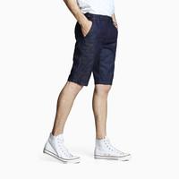 INTERIGHT 牛仔裤男 夏季暗纹迷彩弹力运动休闲牛仔短裤 深蓝色 30码