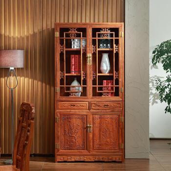 粤顺红木书柜 实木书架 花梨木明式书柜 中式书房博古柜 单个H233