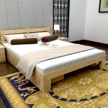 洛克菲勒 实木床双人床松木床单人床宽1.2米简易木床