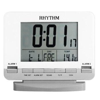 麗聲(RHYTHM)多功能液晶鬧表簡約貪睡夜燈鬧鈴日歷溫度臥室床頭雙鬧鐘學生兒童小鬧鐘12cm商務lct075nr03D