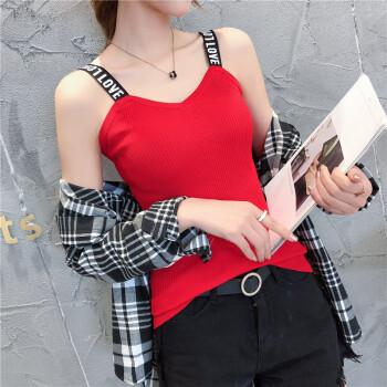 沫欣 2019夏季新品女装吊带/背心女网红无袖t恤mschf背心冰丝打底衫 JXALFS013 红色 XL