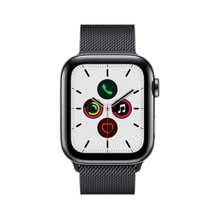 Apple Watch Series 5智能手表(GPS+蜂窝网络款 44毫米深空黑色不锈钢表壳 米兰尼斯表带 )