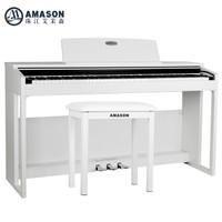 艾茉森(Amason)珠江艾茉森电钢琴VP165 数码智能电钢琴88键重锤专业初学者家用电子电钢 白色+琴凳等礼包