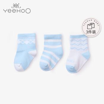 英氏袜子婴儿宝宝薄款袜新生婴儿儿四季幼儿袜纯棉 3双装 蓝色 9.5CM