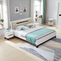 全友家居 双人床简约北欧卧室软靠板式床婚床带床垫组合大床 121806 床+床头柜*2+床垫 1800*2000