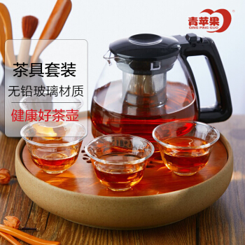 青苹果玻璃茶杯茶壶5件套茶壶*1+水杯*4 R390+Y2011/L5