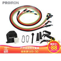PROIRON 拉力绳弹力绳健身器材家用阻力带拉力带胸肌训练 乳胶弹力绳弹力带专业12件套全能级(100磅)