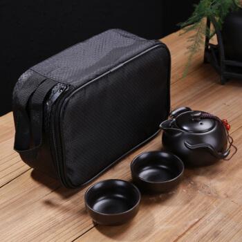 柯锐迩 便携户外车载旅行茶具 陶瓷单人茶具套装快客杯 简约功夫茶具四件套一壶两杯+旅行包