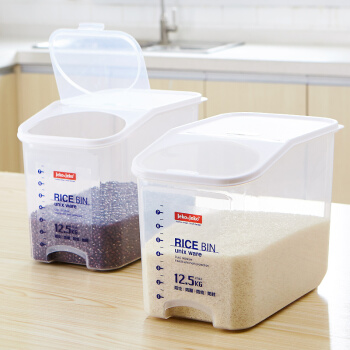 捷扣JEKO&JEKO 密封米箱装米桶12.5kg家用厨房透明米箱防虫塑料米缸大米面粉粮食密封收纳盒 SWB-5488
