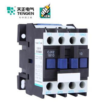 天正电气(TENGEN)CJX2-1810 220V 3NO 1NO 18A 50Hz 3P 接触式继电器 辅助触点 交流线圈 交流接触器