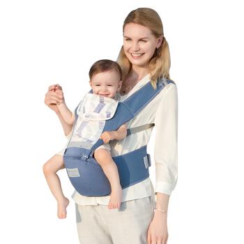 babycare婴儿多功能背带腰凳减震坐垫抱娃神器硅胶防滑四季通用宝宝背带【Air Mesh 3D】 9826格里蓝-3D