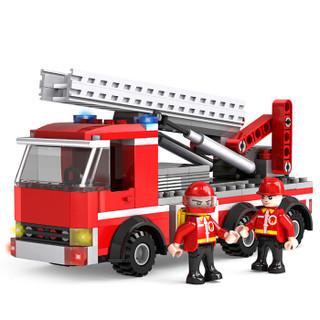 积高(COGO)消防云梯战车积木 消防灭火警察大队模型 儿童立体拼插拼装启蒙玩具 13613