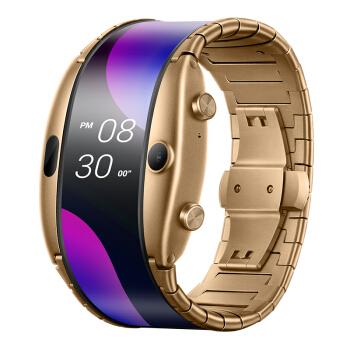 努比亚 阿尔法 nubia α 腕机 联通版 流光金 独立通话(eSIM技术) 智能穿戴手表 可弯折柔性屏