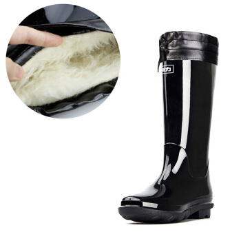 回力男士中高筒加绒保暖雨鞋雨靴胶鞋套鞋防水鞋 838 高筒长毛加绒 41(正常尺码)