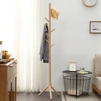 家逸实木衣帽架落地卧室简易衣服架客厅玄关单杆式挂衣架实木无漆衣架