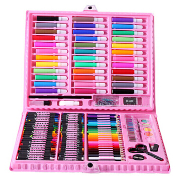 可爱布丁儿童蜡笔画画工具水彩笔男女孩文具绘画套装4-6-10岁礼物 150件套画笔套装塑料礼盒生日礼物