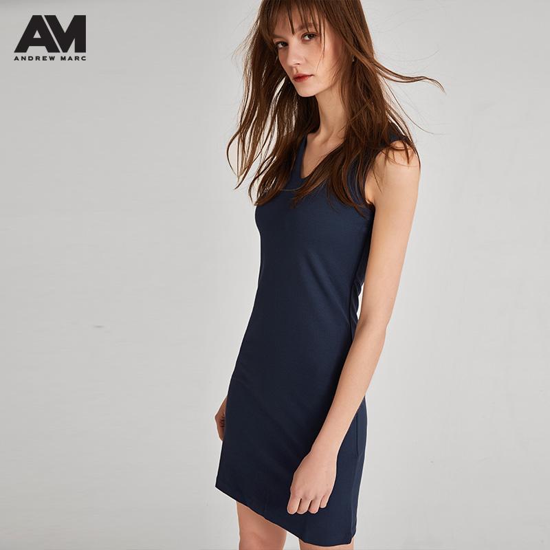ANDREW MARC 女士无袖修身V领连衣裙