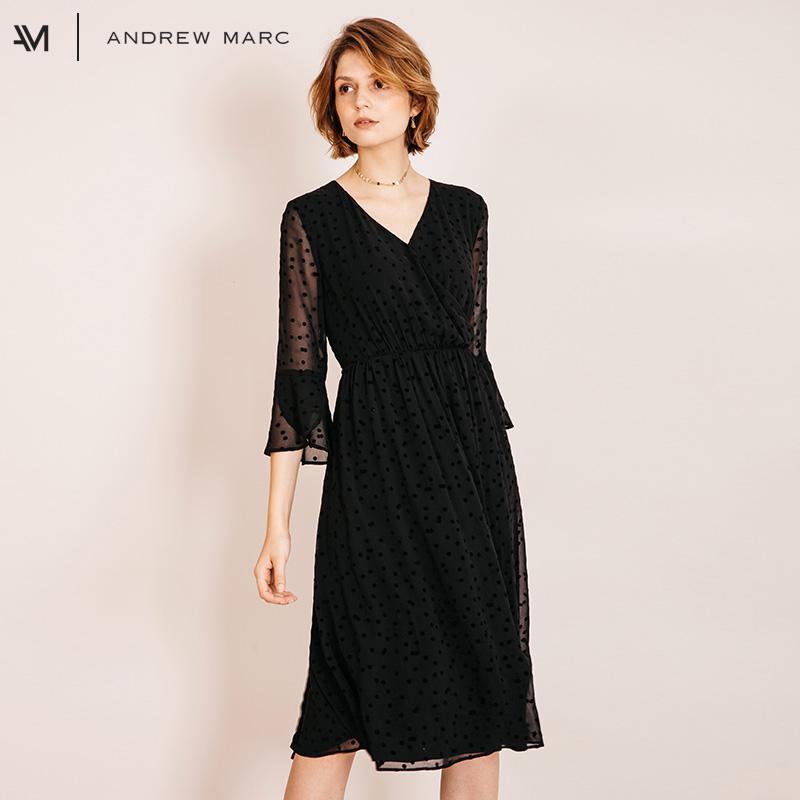ANDREW MARC XFSW8GD226MNY 女士V领连衣裙
