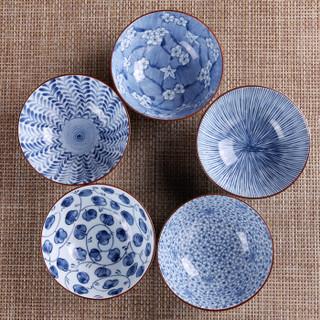 Mino Yaki 美浓烧 古染 陶瓷碗套装 5.5英寸*5个