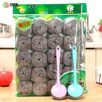 洁丽仆 不锈钢钢丝球清洁球 40个装 送2个手柄 *2件