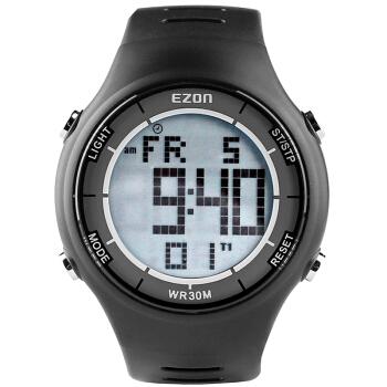 宜准(EZON)手表户外运动超薄手表学生电子防水功能男表黑色L008A11