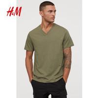 HM 男装打底衫短袖纯色T恤男2020夏季休闲修身V领潮流衣服0763275