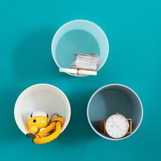 木杰 圆筒造型杂物壁挂收纳盒 3个装