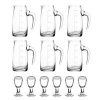 1950白酒杯分酒器套装 一口杯高脚茅台小酒杯分酒壶玻璃烈酒杯6只+6分酒壶100ml