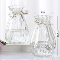 姝好 简约玻璃花瓶 透明色 7*15cm 两只装
