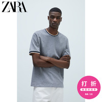 ZARA 男装 撞色条纹假两件纹理短袖圆领T 恤 00526416401