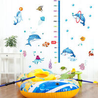 姒桀 SK9034 儿童房宝宝量身高贴纸 C款 海豚戏水