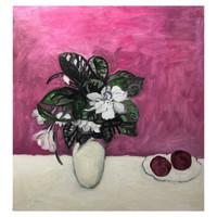 艺术品:何纵 油画名家油画纯手绘油画《栀子和桃》55x50cm